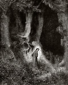 Dante in the Dusky Woods (wood engraving by Paul Gustave Dore)