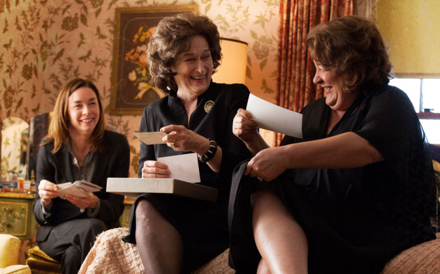 Julianne Nicholson, Meryl Streep, and Margo Martindale sharing a rare moment of cheer. Original source: chicagonow.com.