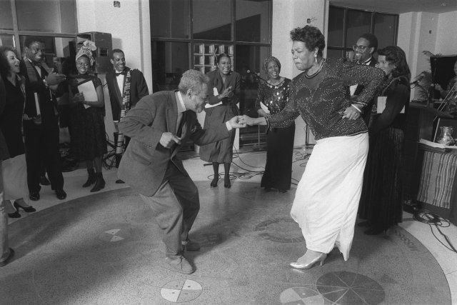 A foxy Ms. Angelou dancing with Amiri Baraka. Chester Higgins Jr./The New York Times