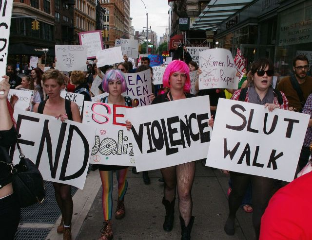 http://commons.wikimedia.org/wiki/File:SlutWalk_NYC_October_2011_Shankbone_25.JPG
